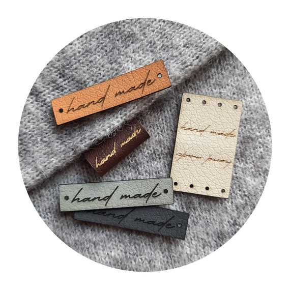 """Set of tags """"hand made"""" flat or center fold PVC leather labels. Labels for knitting, crocheting, sewing. Clothing labels. Handmade. DIY."""