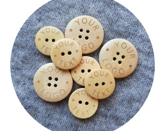 SET of 50 personalized wooden buttons. custom buttons. labels for sewing. buttons for handmade things. wooden engraved buttons