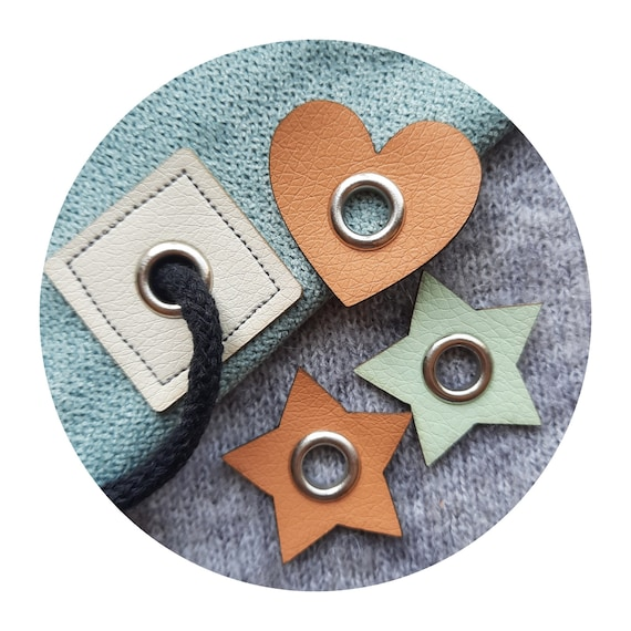10x leather PVC pad with metal eyelet. grommet. many colors. silver eyelet. tags for sewing. Handmade tags. tags for handmade. craft labels