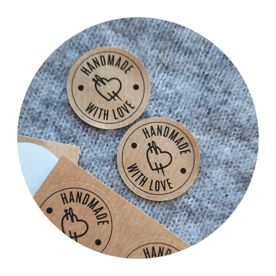 SET of 20 stickers - Handmade with Love - tags for handmade  - labels for knitting / sewing / crocheting - heart