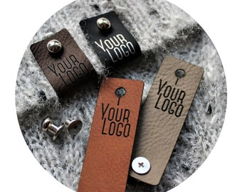 35x DECO leather tags with metal rivet. personalized labels. branding tags. custom logo tags. product labels. crocheting knitting tags