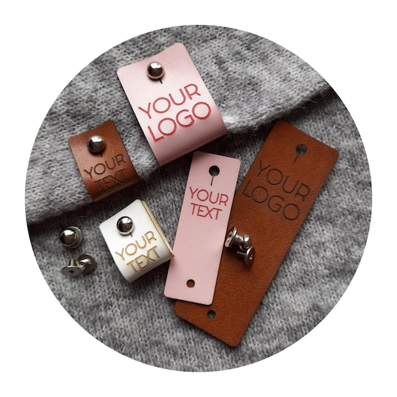35x PREMIUM PU leather tags with metal rivet. personalized labels. branding tags. custom logo tags. product labels. crocheting knitting tags