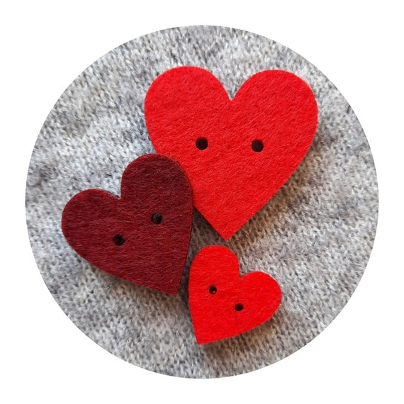 10x Made with Love! Heart-shaped felt buttons, many colours and sizes, Valentine's day, for handmade items, tags for handmade, felt 4mm