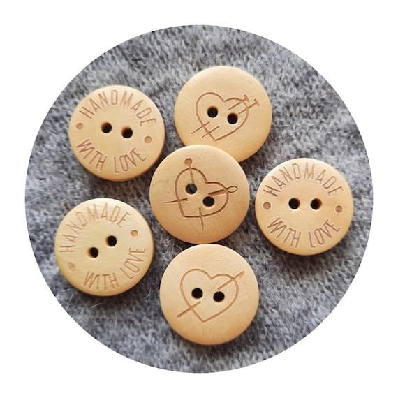 """SET of 10 wooden buttons - Handmade with Love - Labels for sewing - buttons for handmade things- wooden engraved buttons - 2,4cm / 1"""" - LOVE"""