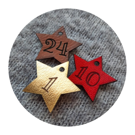 24x Advent calendar numbers. leather PU tags with numbers. Numbers tags. Gift tags. Christmas tags. Handmade. DIY Advent calendar. Red. Gold