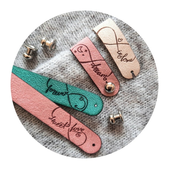 8x PREMIUM fake SUEDE tags - metal rivet - colors - tags for crochet knitting items - yarn - needle - wool - knit