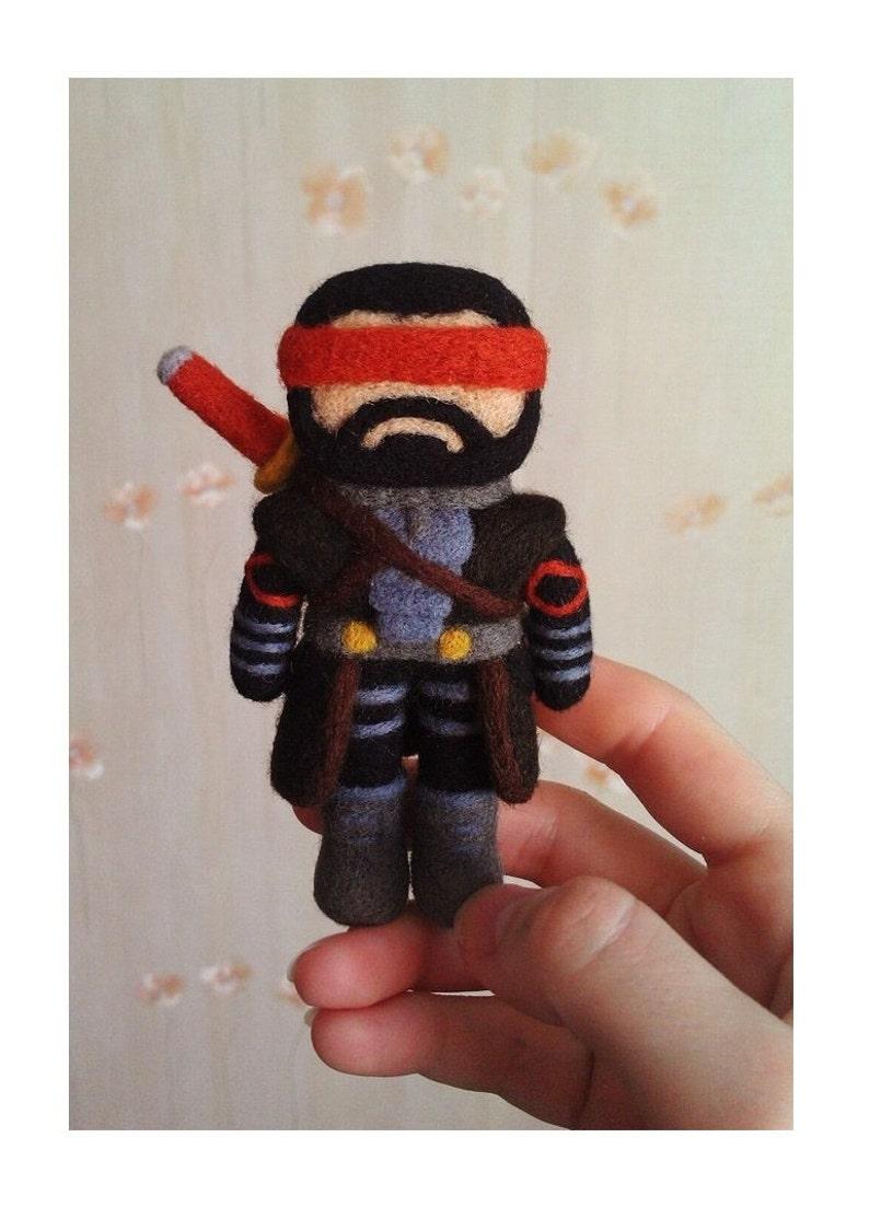 Mortal Kombat Kenshi chibi ninja MKX samurai needle felted toy mascot geeky  gift for gamers Scorpion, Sub-Zero, Raiden, Erron Black, Ermac