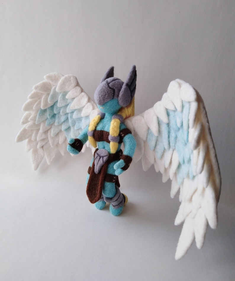 Valkyrie figurine Norse mythology Goddess theme Handmade Needele felted  sculpture Geek Valintines day gift Plush toy 6 3inch x 11 4inch