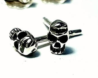 Silver Earrings Skull  Stud, Valentines Gift,Hand Made, Steampunk,Gothic