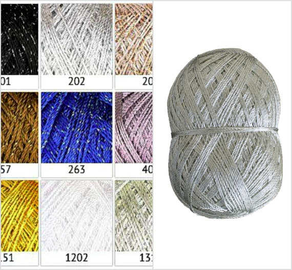 Glitter Yarn With Lame For Knitting Crochet Thread Size 5 Etsy