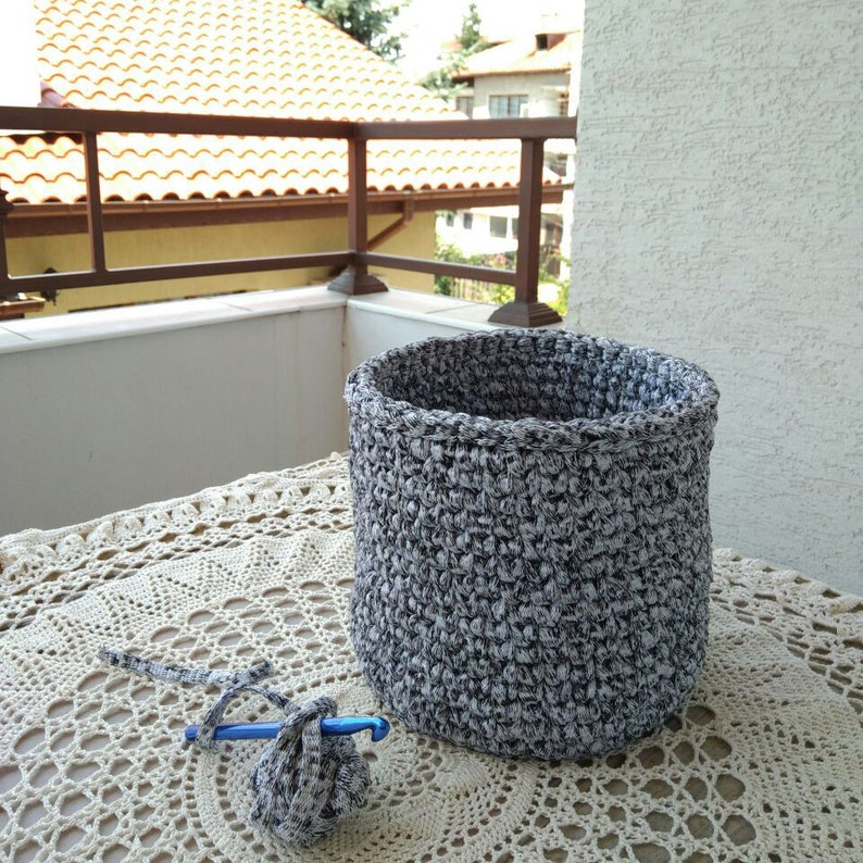 Crochet Basket Pattern from a ribbon yarn, DIY crochet Pattern, PDF crochet  Pattern, diy storage crochet basket, crochet bowl pattern