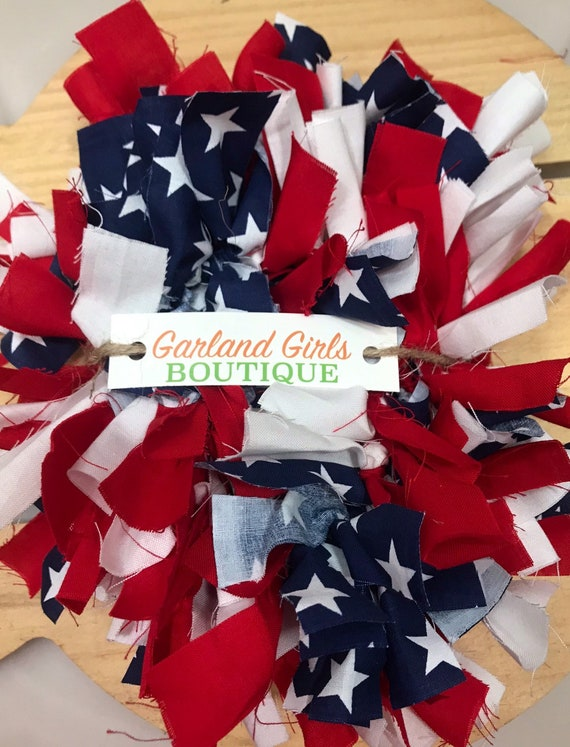 Patriotic 4th of July Red White Blue Fabric Rag Garland Decor  Decoration 6FT