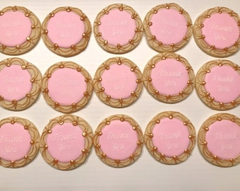 Thank you sugar cookies with gold detail. (1 dozen)