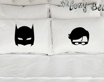 Batman Mask and Robin Mask - Set of 2 Printed Pillowcases