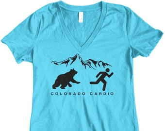Women's Colorado Cardio Bear Junior Fit V-Neck T-Shirt