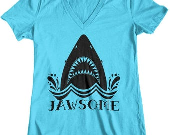 Women's Jawsome Jaws Shark Week Junior Fit V-Neck T-Shirt