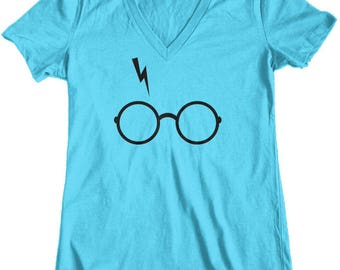 Women's Harry Potter Glasses and Scar Junior Fit V-Neck T-Shirt