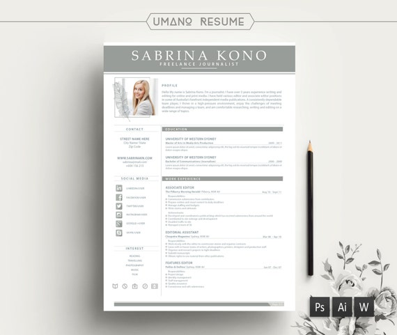 Modern Resume Template + Free Cover Letter for Word | AI | PSD | DIY  Printable 3 Pack | The Kono | Professional and Creative Design