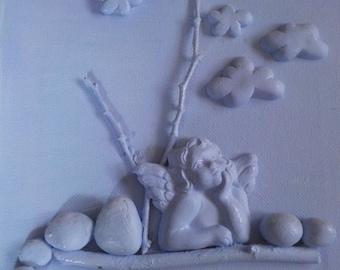 Blue cherub pebble art on canvas collage