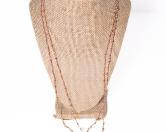 Delicate copper wire beaded chain with large tiger-eye pendant