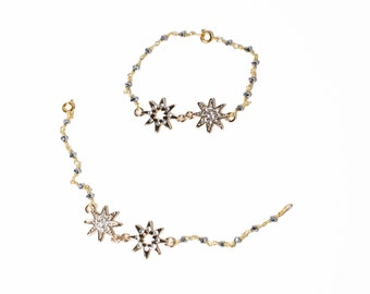 Double crystal star gold and silver beaded bracelet
