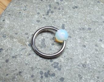 Moonstone Nipple Ring Captive Bead Ring Septum Ring Surgical Steel 14 gauge