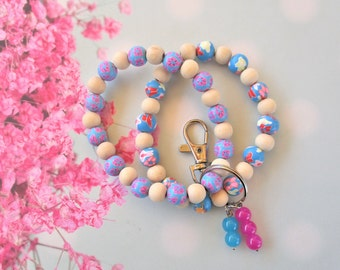 Aqua Blue  And Pink Floral Polymer Clay Beads Double Stranded Natural Wooden Beads Key Chain Bracelet