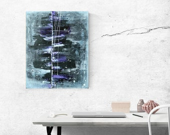 ORIGINAL PAINTING - Huge abstract art on canvas / Acrylic painting / Violet, purple, black and white art
