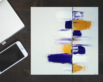 CUSTOM ORDER - Abstract art on canvas / Acrylic painting / Violet, gold, black and white art