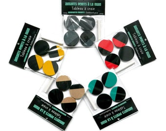 """Magnets """"chalkboard"""" wooden hand-painted - COLOUR choice! - Customizable Desktop Accessories"""