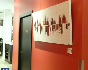 CUSTOM ODER - Huge abstract art on canvas / Acrylic painting and mixt technic - Red, brown, white and gold - Modern art