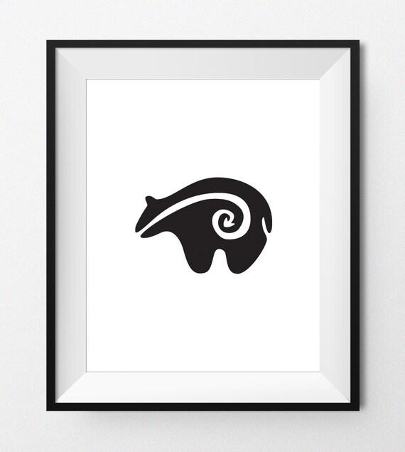 Digital Print Art Zuni Bear Black Native American Art Etsy