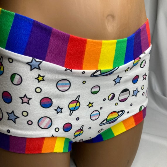 Ready to ship! Tuck Buddies 2.0 Adult - boy short style underwear made of cotton lycra with organic cotton liner - queer planets rainbow