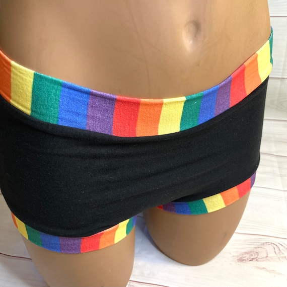 Tuck Buddies 2.0 - black with rainbow stripe bands - adult sizes