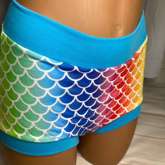 Ready to ship! AMAB Tuck Buddies 2.0 Adult - boy short underwear with organic cotton fleece lining - Rainbow mermaid