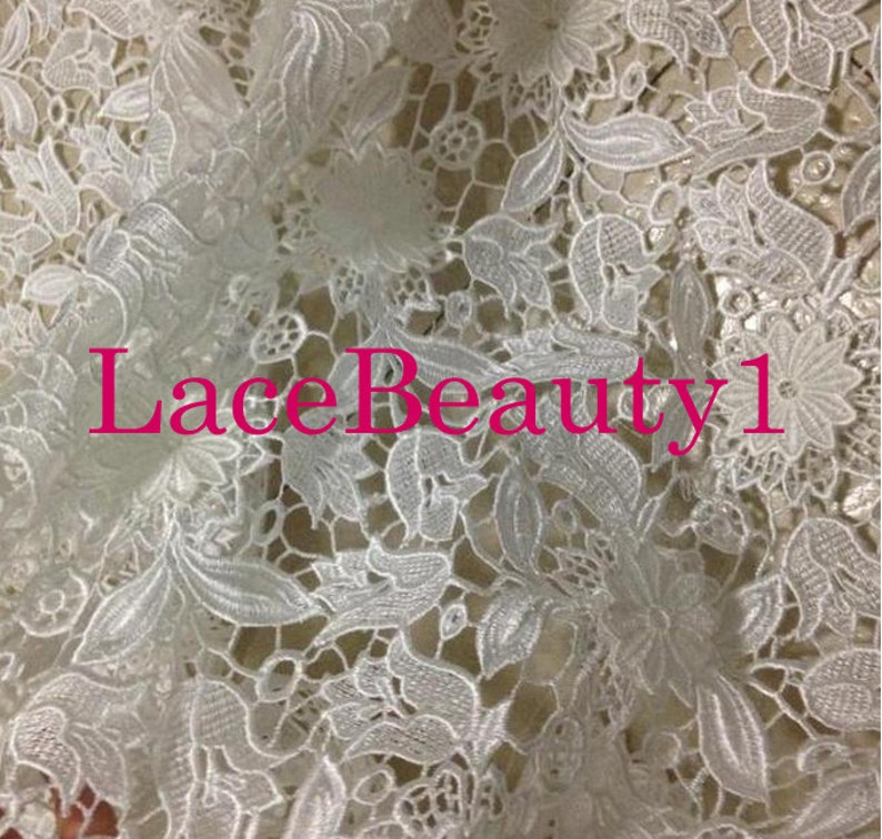 dress lace,vintage lace flower lace fabric,wedding lace,bridal lace,apparel lace Embroidery water-Soluble lace with 3D flowers,Eyelet Lace