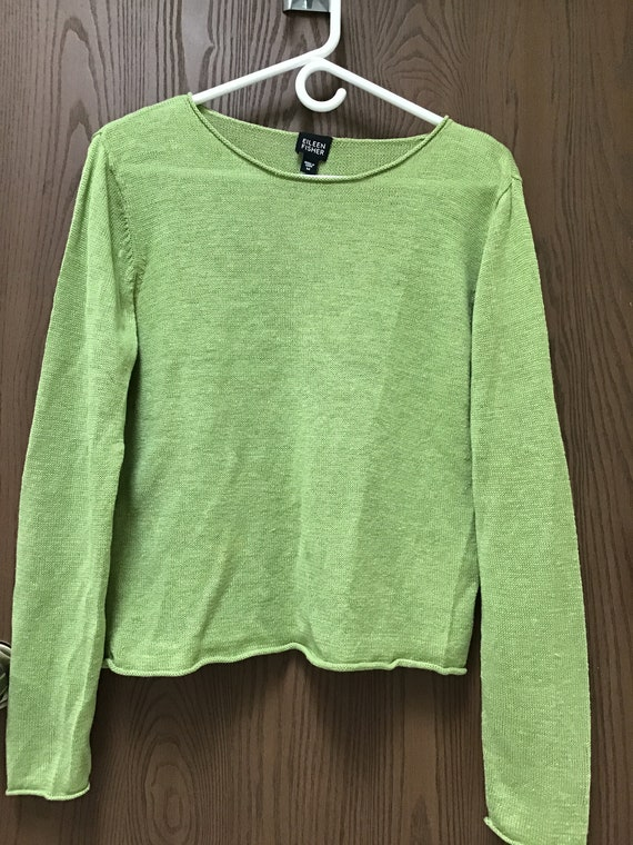 Eileen Fisher apple green sweater 100% linen, sz M