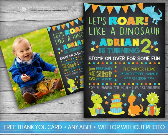 Dinosaur Invitation Invite First Birthday