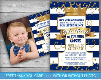 Prince Invitation | Little Prince First Birthday | Number One | Boy First Birthday Invite | Navy Blue Gold | Crown | Photo Invitation