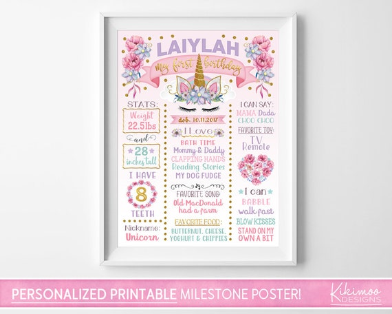 Birthday Board Unicorn Milestone Poster Decor Digital FilePrintable Milestone Board