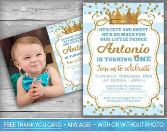 Prince Invitation | Little Prince First Birthday | Boy First Birthday Invitation | Blue Gold | Crown | Royal Party Invite | Photo Invitation