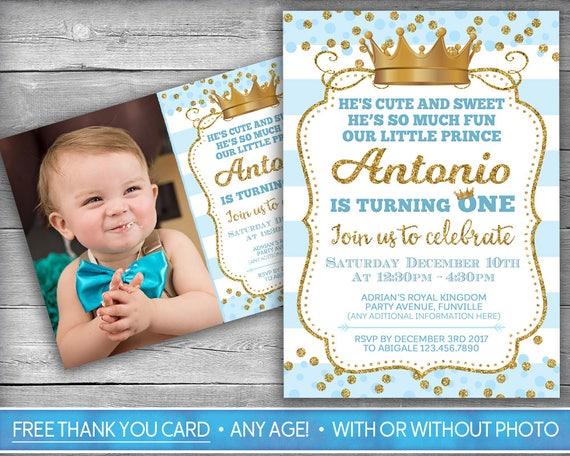 Prince Invitation Little Prince First Birthday Boy First Etsy