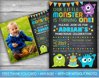 Monster Invitation | Monster Invite | First Birthday Invitation | Photo Invite | Boy Invitation | Chalkboard Invite - Monstrous Birthday