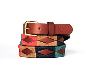 Argentinian leather polo belts - CLASSIC - Embroidered manually - Natural tanning - Woman model - Kamyno