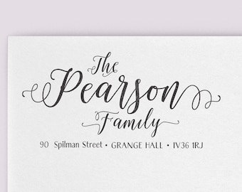 custom address family address stamp 2.8x1 calligraphy address stamp personalised gift cas125 new home owner