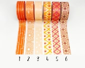 Orange Patterned Washi Tape 5m Planner Tape, Japanese Masking Tape, Planner Supplies, Crafting Tape, Deco Tape, Planner Border Tape