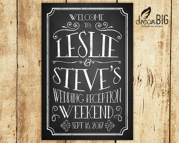 Welcome To Our Wedding Chalkboard Sign Personalized