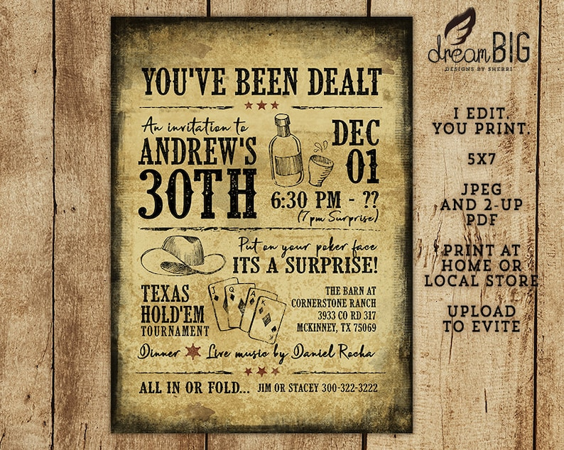 Texas Holdem Poker Birthday Invitation 21st 30th 40th 50th 60th Printable DIY Invite Print At Home Evite