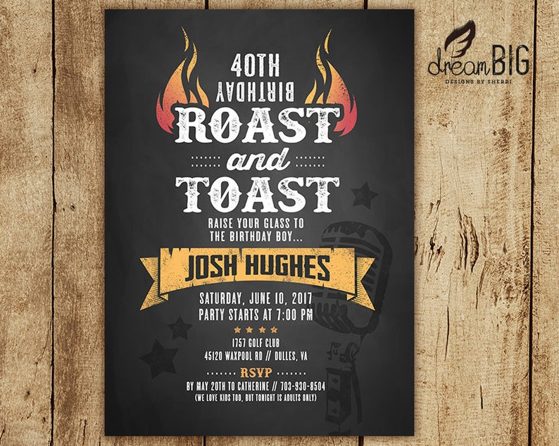 Roast And Toast Birthday Invitation Adult 21st 30th 40th 50th 60th Digital Invite Evite JPEG PDF DIY Print At Home