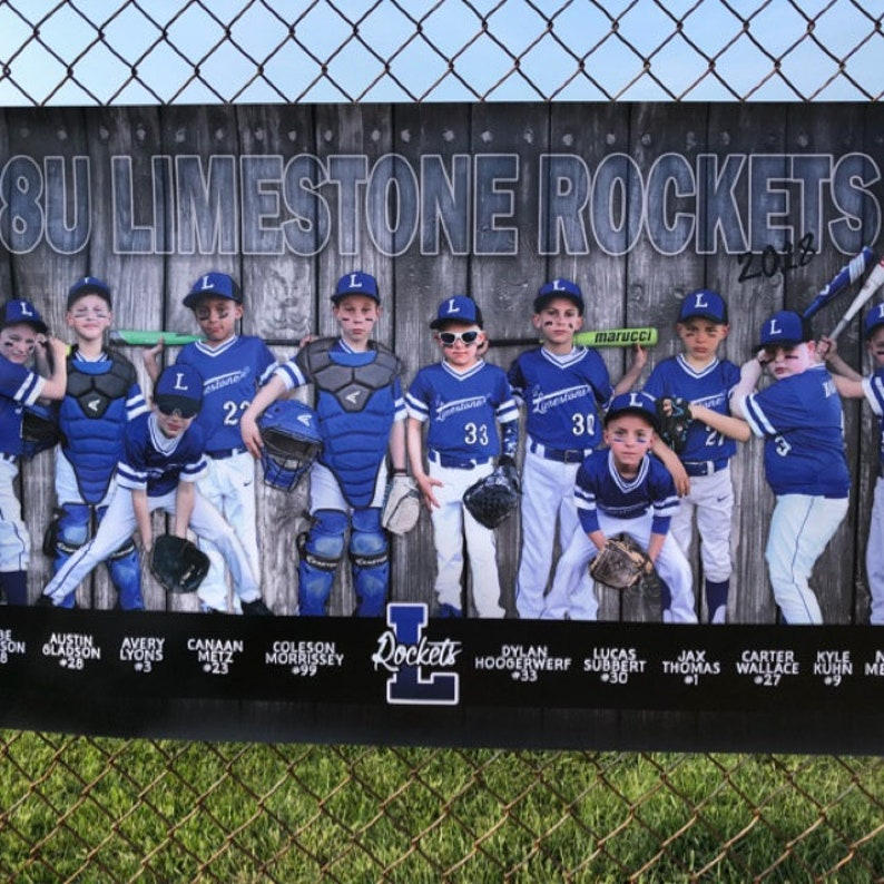 Sand Lot Baseball Team Sport Photo Banner  Wood Fence  Tournament  Players Names Numbers  Logos Sponsors  Digital Design PDF